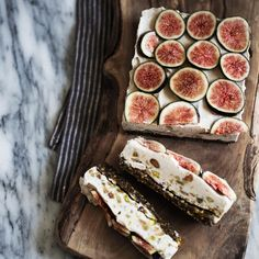 A refreshing healthy easy fruity and nutty dessert: Fig pistachio bars. Mostly raw all vegan gluten free and all awesome. Delicious Vegan Recipes, Raw Food Recipes, Dessert Recipes, Cooking Recipes, Fig Recipes, Dessert Bars, Summer Recipes, Recipies, Healthy Recipes