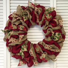 Red and Green Christmas Wreath, Burlap Wreath, Christmas Ribbon Wreath, Large Xmas Wreath, Door Decor, Holiday Wreath, Door Wreth by ContemporaryCrafting on Etsy https://www.etsy.com/ca/listing/254079533/red-and-green-christmas-wreath-burlap