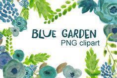 Clipart Flowers blue garden by cherylwarrick on Creative Market