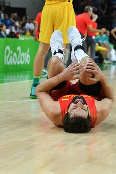 Spain's guard Sergio Llull reacts after Spain defeated Australia during a Men's…