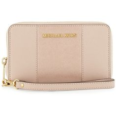 MICHAEL Michael Kors Jet Set Large Saffiano Multifunction Wallet (385 PEN) ❤ liked on Polyvore featuring bags, wallets, ballet, stripe wallet, cell phone bag, pink bag, zip around wallet and michael michael kors wallet