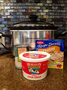 Hello Gorgeous!: Healthy Crockpot Chicken StroganoffCrockpot chicken stroganoff I remember getting this recipe at Weight Watchers--chose low fat soup and sour cream to make it healthier!