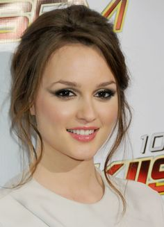Leighton Meester's smoky eye, pink lips, and loose updo are so perfect
