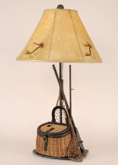 Fly Fishing Gear Rustic 31 in Table Lamp with Shade cabin chalet decor