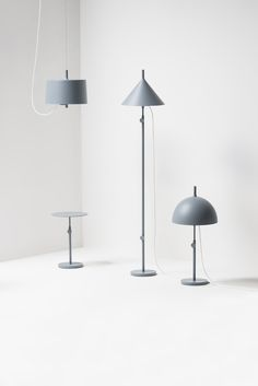 Nendo w132 for Wastberg - A lighting fixture made by assembling its parts: the shade, post and stand. The height and form of the light can be easily changed by adding and rearranging the components. By attaching the wire unit to the shade, it becomes a pendant lamp. Adding a longer pole to the desk lamp makes it a floor stand. The shade is also available in three different shapes: a cone, sphere and a cylinder.