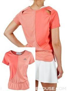 For those with the extra style edge - slits on upper back - adidas Women's Stella McCartney Barricade Top http://www.womenstennisblog.com/2014/06/19/stella-mccartney-returns-ruffles-neutral-colors-collection-wimbledonus-open-2014/