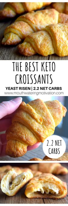The Best Keto Croissants are soft and light with flaky buttery layers. These low carb croissants are made with almond flour, yeast and vital wheat gluten. Low Carb Bread, Keto Bread, Low Carb Keto, Keto Fat, Bread Baking, Ketogenic Recipes, Low Carb Recipes, Bread Recipes, Cena Keto