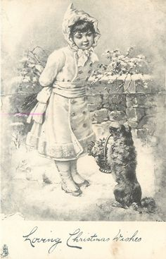 ■ Tuck DB...      girl stands in snow looking down at dog sitting up holding basket of flowers in mouth
