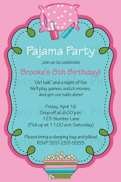 pijama party invitations - Buscar con Google