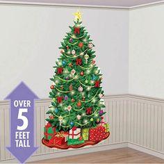 Classic Christmas Tree Xmas Scene Setter Wall Decoration - 85 X 165cm