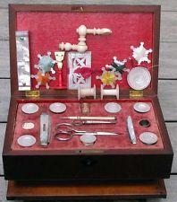 Antique Regency 1820s Sewing Needle Case Kit MOP Etui Thimbles Snowflake Winders
