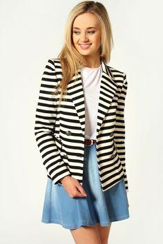 Maddie Stripe Jersey Blazer, $40