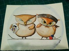 Custom couple owl painting by ArtbySarahEngland on Etsy, $120.00