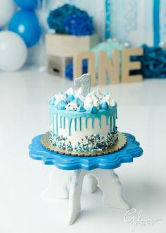 Cake Smash Photography For Boys - Gilmore Studios 1st Birthday Cake Designs, Blue Birthday Cakes, Baby First Birthday Cake, Boys 1st Birthday Cake, Cake Designs For Boy, Baby Boy Cakes, Orange County, Cupcake Bakery, Party Cakes