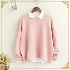 Plain Sweater (24 CAD) ❤ liked on Polyvore featuring tops, sweaters, pink top and pink sweater