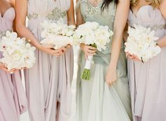 shells filled with flowers for the bridesmaids.
