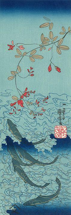 萩に鮎|歌川国芳|浮世絵のアダチ版画オンラインストア