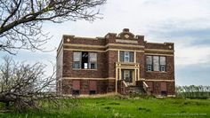 ND, Crystal Springs, former school - in the late fifties Interstate 94 cut right through Crystal Spring's backyard which eventually led to the town's demise
