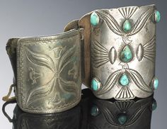 Two Navajo bow guards