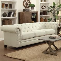 Dalila Upholstered Chesterfield Sofa by Willa Arlo Interiors Sofa Upholstery, Upholstered Sofa, Fabric Sofa, Linen Fabric, Furniture Deals, Sofa Furniture, Pallet Furniture, Furniture Removal, Furniture Outlet