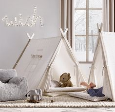 RH baby&child's A-Frame Tent:With its slightly smaller scale, this tent is sure to become a favorite hideaway for the toddler set. Roll out one of our coordinating preschool mats and it becomes a cozy spot for a nap. Easy to put up and take down, the sturdy wood A-frame is covered in printed canvas.