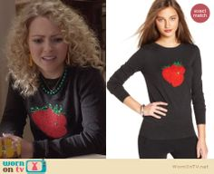 Carrie's black strawberry sweater on The Carrie Diaries. Outfit Details: http://wornontv.net/25619 #TheCarrieDiaries #fashion