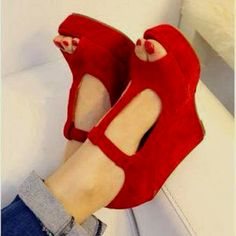 Red suede t-strap wedges shoes-bags-i-love Crazy Shoes, Me Too Shoes, Look Fashion, Fashion Shoes, Girl Fashion, Mode Shoes, Red Wedges, Zapatos Shoes, Red High Heels