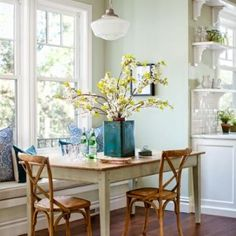 after kitchen remodel breakfast nook with schoolhouse pendant light, wood table, chairs and cushioned window seat Design My Kitchen, Kitchen Colors, Dining Nook, Dining Tables, Dining Room Inspiration, Color Inspiration, Luxury Interior Design, Beautiful Kitchens, Luxury Homes
