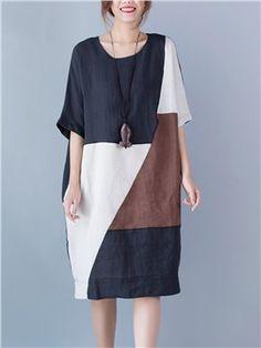 Ericdress Color Block Loose Casual Dress