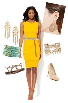 Dafodil Yellow 2Ways by ethereal-cassiopeia on Polyvore featuring polyvore fashion style New York & Company Top Guy Carlos by Carlos Santana Forever 21 River Island Nixon clothing