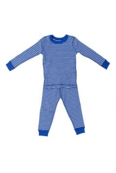 Organic Cotton Long Sleeve Baby Pajamas (3T, Royal/White Stripe) 100% Organic Cotton. Snug Fitting. NOT treated with Flame Retardant Chemicals. Meets CPSC guidelines for children's sleepwear. Comes in a reusable linen pouch. Flat interior seams for added comfort.