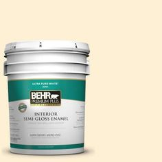 BEHR Premium Plus 5-gal. #350C-1 Downy Zero VOC Semi-Gloss Enamel Interior Paint