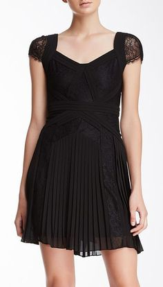 Aris Pleated Lace Cocktail Dress
