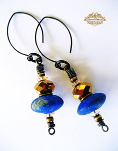 PHARAOHS TREASURE earrings are a new Spinning Castle design! Made with blue Lapis Lazuli focal beads, gold faceted crystal beads, gold bead caps,