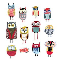 Elise Gravel illustration • Owls • hiboux • animals • birds • art • print • colourful • drawing • cute • nature