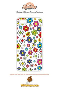 A Flower Power on White phone case available for all phone makes and models and can be personalised and purchased from www.mrnutcase.com