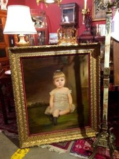 "19th Century Oil On Canvas of Pretty Child in Original Frame   45.5"" High x 39"" Wide   Dealer #7373  $695  Lost. . .Antiques 1201 N. Riverfront Blvd. Dallas, TX 75207  Monday - Saturday: 1"