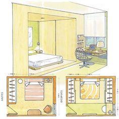 cama futón con armarios