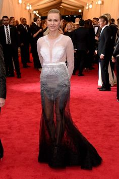 Naomi Watts manages to still look elegant while showing off her fabulous-at-45 legs in this fishtail Givenchy gown.