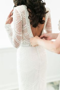 Elegant beaded Berta wedding dress: Photography : Cadence Kennedy Photography Collection Read More on SMP: http://www.stylemepretty.com/new-york-weddings/2017/01/20/glamorous-vintage-mansion-wedding/