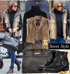 """Get the look: Olivia Palermo in long fur vest :)"" by katijaa ❤ liked on Polyvore"