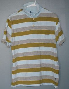 Gap athletic fit green blue and gray striped cotton polo shirt mens size L #Gap #PoloRugby
