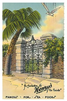 """Linen Postcard """"In Charleston, It's Henry's For Foods"""" South Carolina Fish House, One Fish, Garden Spaces, Charleston Sc, Savannah Chat, South Carolina, City, Places, Pictures"""