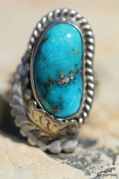 Vintage Signed Navajo Style Sterling Silver Morenci Mine Turquoise Ring -New Old Store Stock.