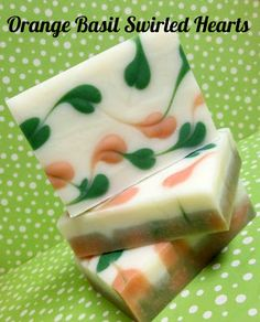 I'd Lather Be Soaping: Orange Basil Swirled Hearts Soap Slow to trace recipe without Palm Handmade Soap Recipes, Soap Making Recipes, Handmade Soaps, Diy Soaps, Savon Soap, Decorative Soaps, Olive Oil Soap, Cold Process Soap, Home Made Soap