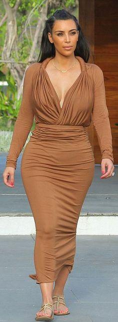 Kim Kardashian's Givenchy Plunging Blouse and Maxi Skirt