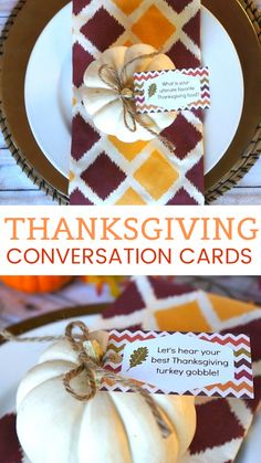 How do you share what you are thankful for? Our Thanksgiving conversation cards are perfect to help you start! These family-friendly Thanksgiving reflection questions are great for the table this turkey day, click the image to print them out for free. Thanksgiving Tablescapes, Thanksgiving Turkey, Thanksgiving Decorations, Thanksgiving Recipes, Conversation Cards, Conversation Starters, Pumpkin Stem, Cool Tables, Mini Pumpkins