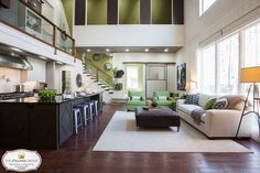 Open space with bold color scheme.
