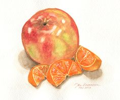Watercolor of an apple and tangerines, Feb 23, 2013