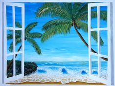 """Saatchi Art is pleased to offer the painting, """"Caribbean Hideaway Seaview Window Dreams,"""" by M Bleichner, available for purchase at $1.609 USD. Original Painting: Acrylic on Canvas. Size is 23.6 H x 31.5 W x 3.9 in. Original Paintings For Sale, Original Art, Barbados, Wall Tattoos, Sea Dream, Dream Painting, Retro Poster, Canvas Art, Canvas Prints"""